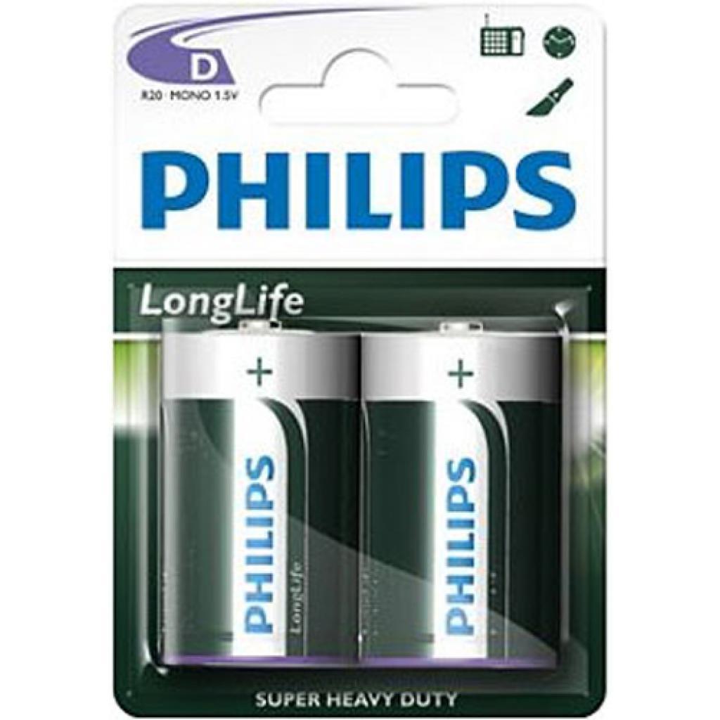 Батарейка PHILIPS R20 PHILIPS Longlife L2F * 2 (R20L2F/97)