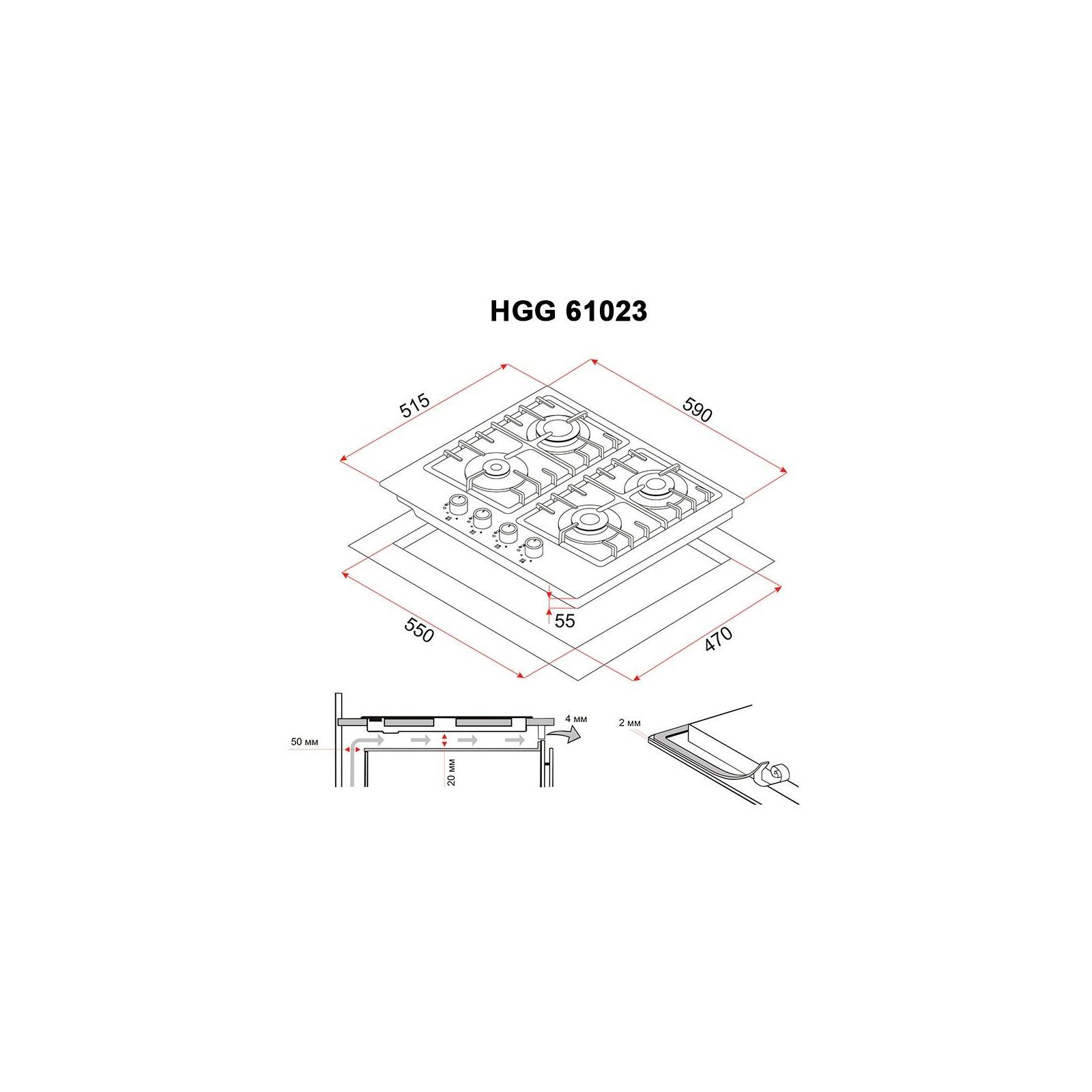 Варочная поверхность PERFELLI HGG 61023 WH изображение 8