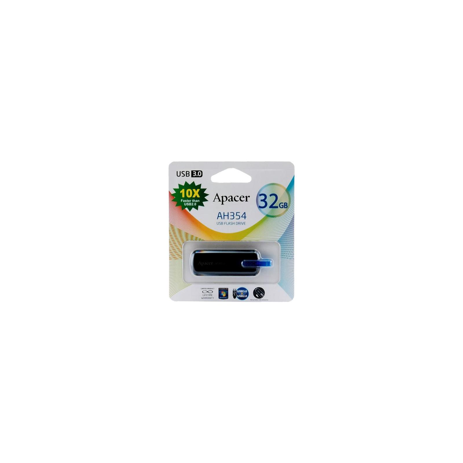 USB флеш накопитель 32GB AH354 Black RP USB3.0 Apacer (AP32GAH354B-1) изображение 9
