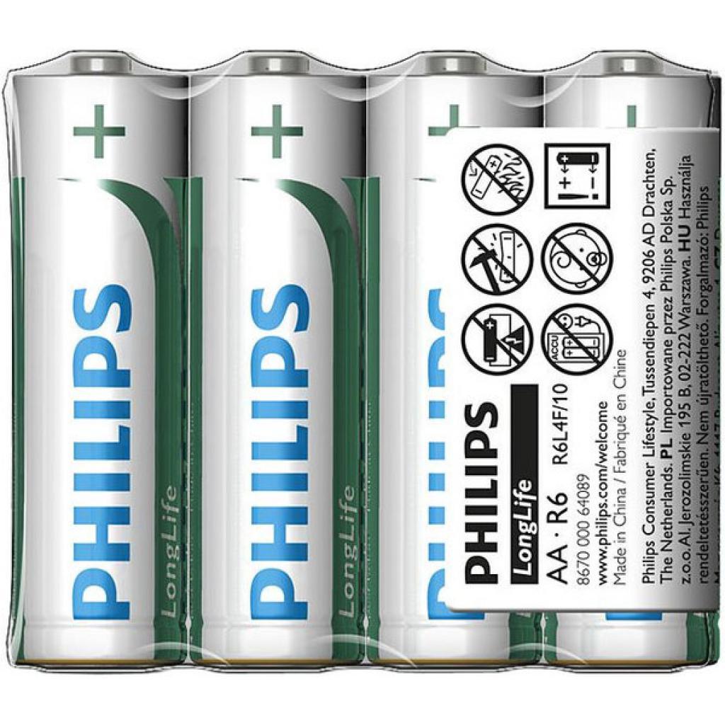 Батарейка PHILIPS R6 PHILIPS Longlife L4F * 4 (R6L4F/97)