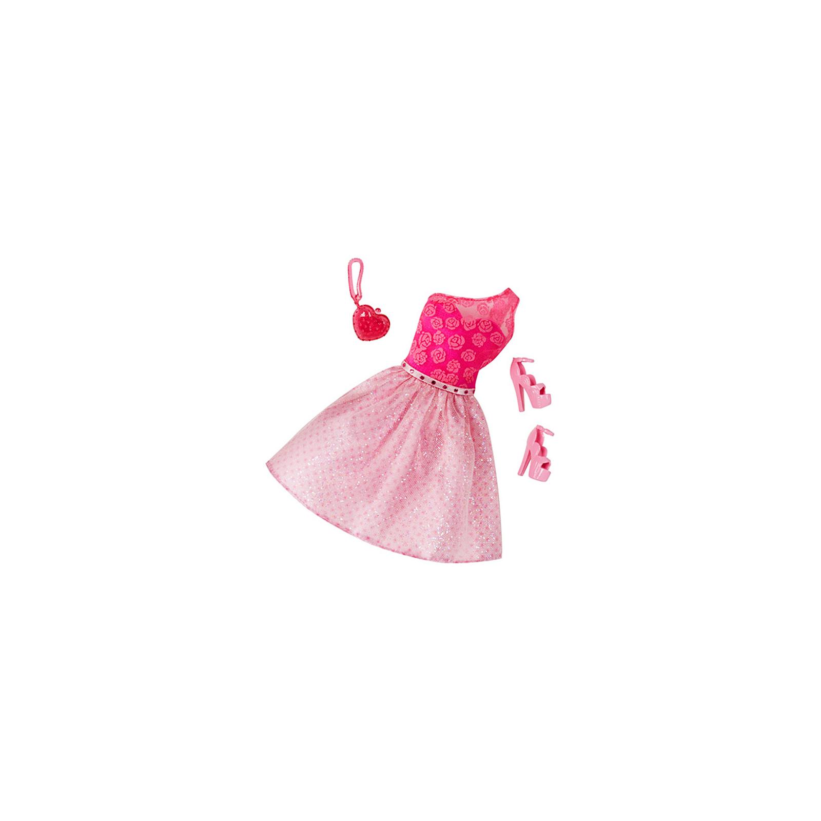 Аксессуар к кукле BARBIE Розовое платье с клатчем-сердечком (CFX92-5)