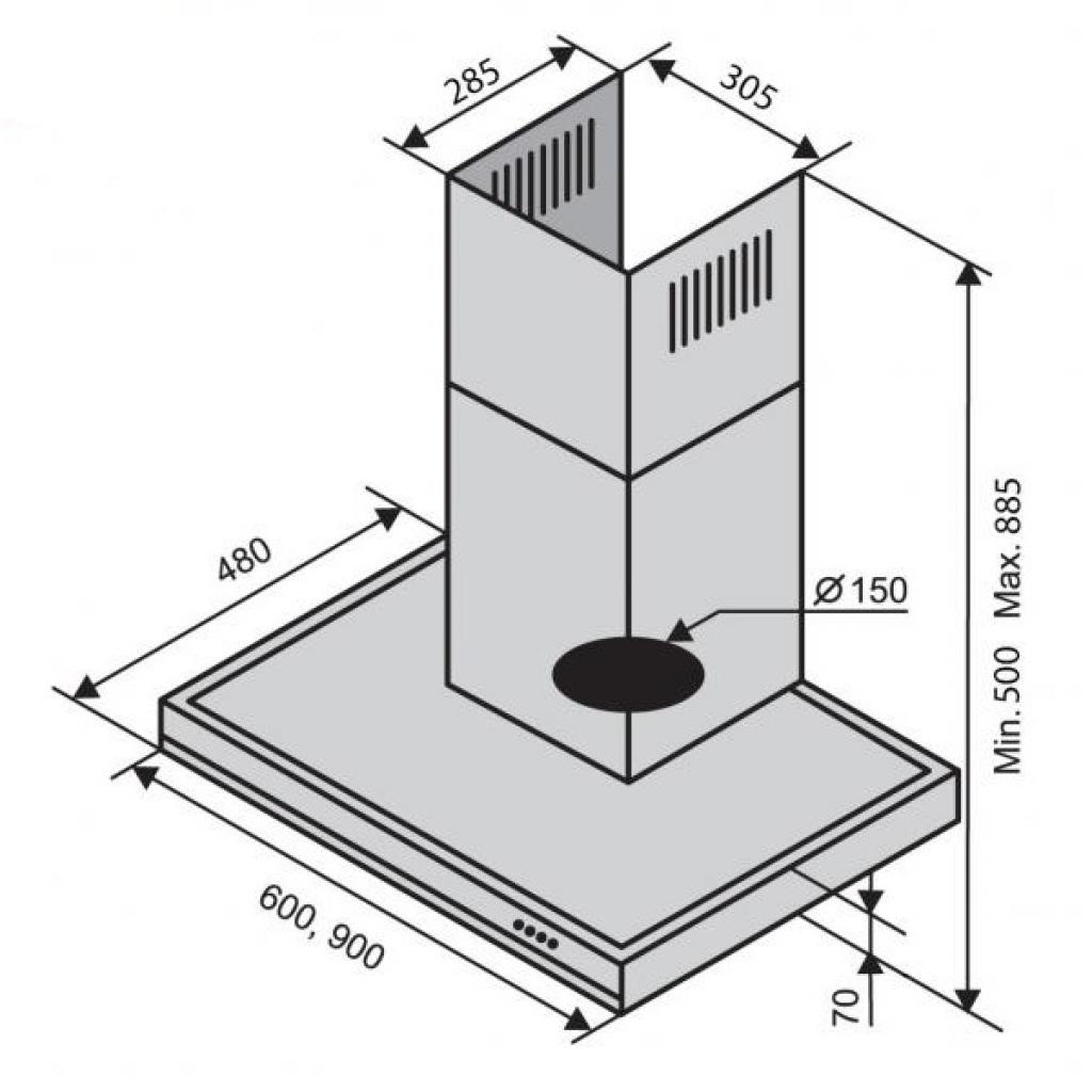 Вытяжка кухонная Ventolux ITALIA 60 BK/X (1200) изображение 2