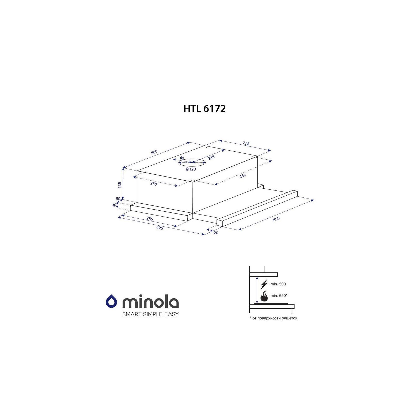 Вытяжка кухонная MINOLA HTL 6172 I/BL GLASS 650 LED изображение 10