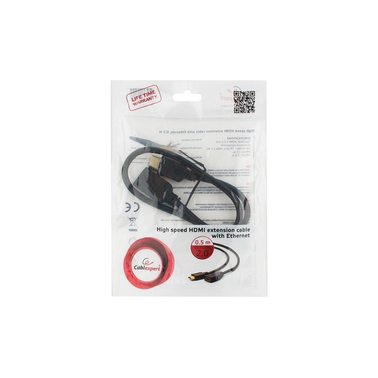Кабель мультимедийный HDMI M to HDMI F 0.5m Cablexpert (CC-HDMI4X-0.5M) изображение 5