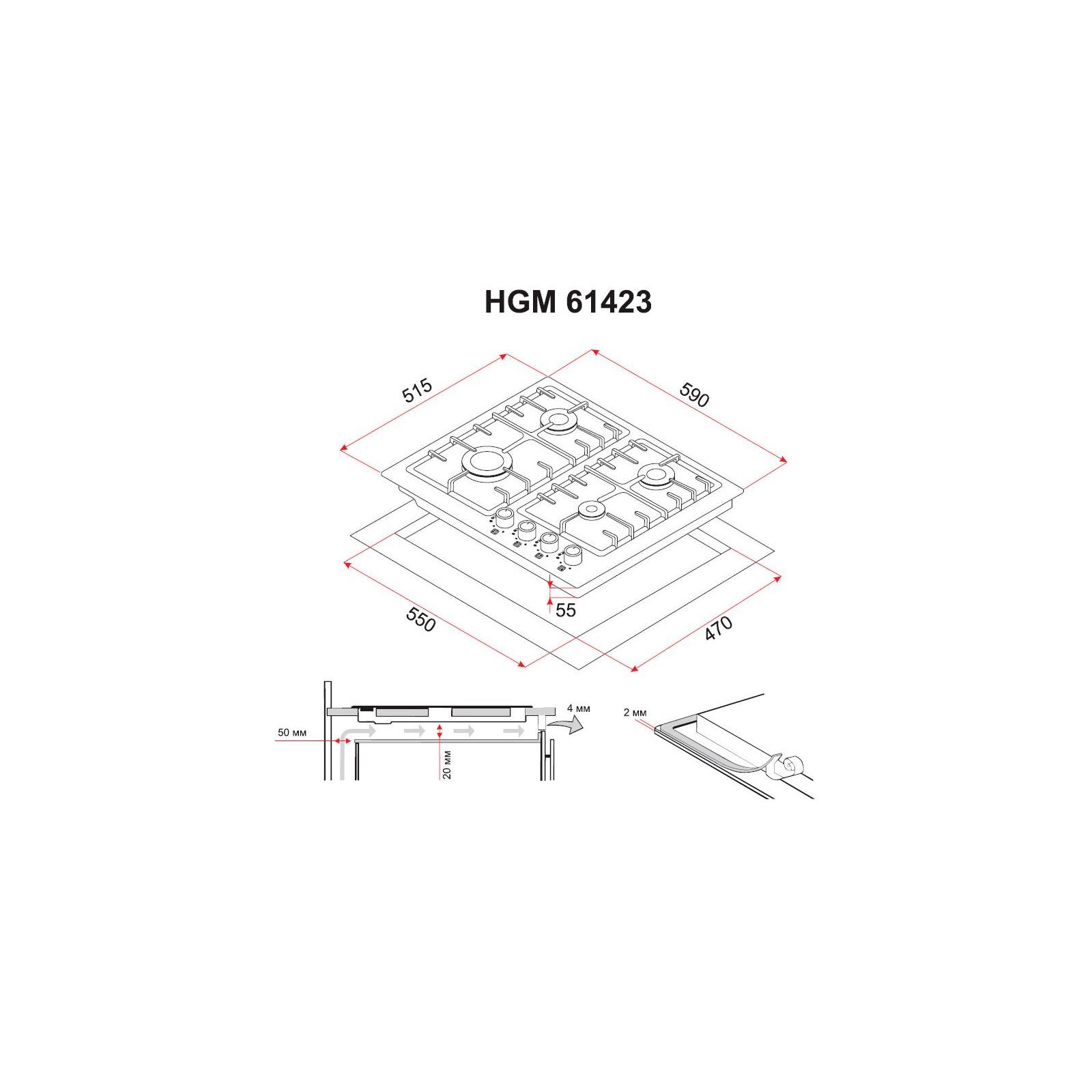 Варочная поверхность PERFELLI HGM 61423 WH изображение 7