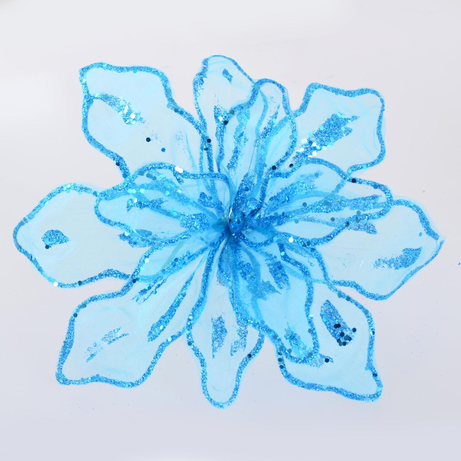 Украшение декоративное YES! Fun Цветок пуансеттии полупрозрачный голубой, 28*28см (750287)