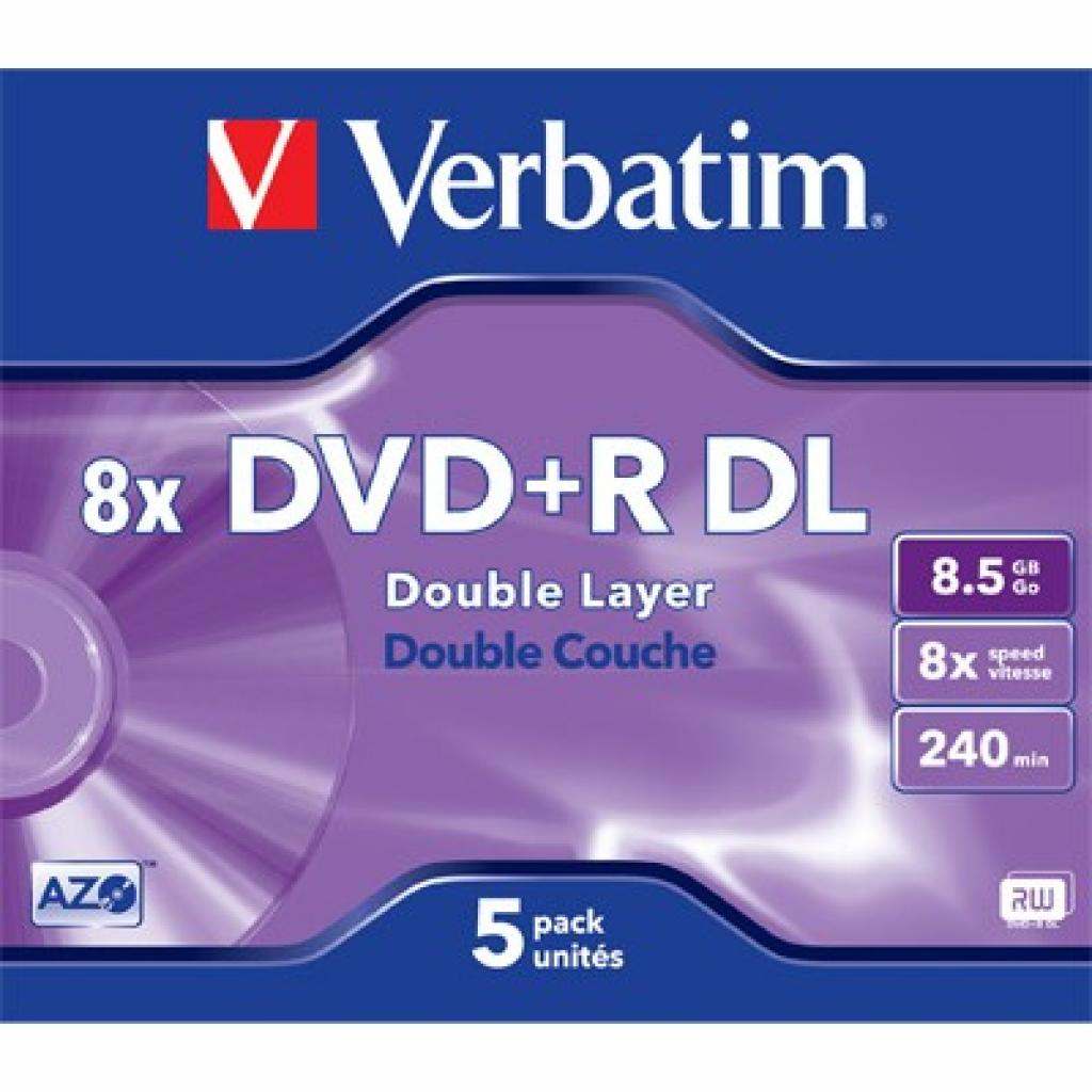 Диск DVD Verbatim 8.5Gb 8x Jewel 5шт Matt Silver (43541)