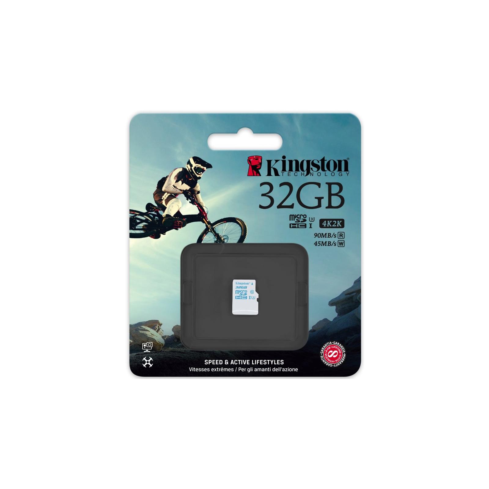 Карта памяти Kingston 32GB microSDHC class 10 UHS-I U3 (SDCAC/32GBSP) изображение 3
