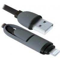 Дата кабель Defender USB10-03BP USB - Micro USB/Lightning, black, 1m (87488)